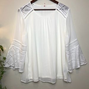 Tops - Lace and chiffon double layered blouse long sleeve